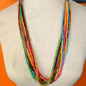 Seed Bead Multi Strand Necklace Artisan Made NWOT